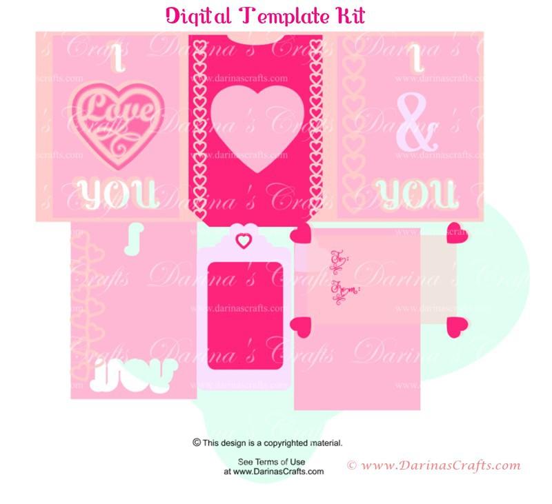 I Love You Pop Up Diorama Card Digital Template
